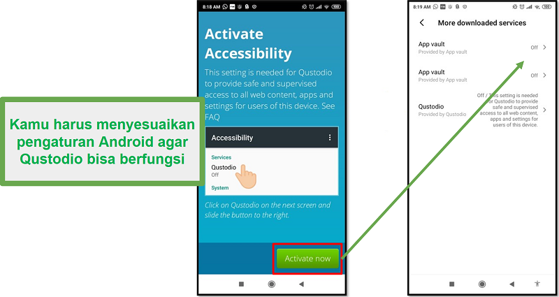 Pengaturan Android Qustodio
