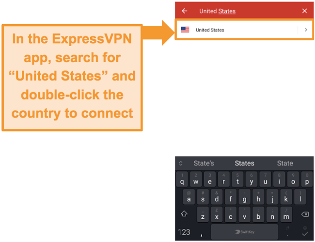 Screenshot of ExpressVPN Android app's search for a US server