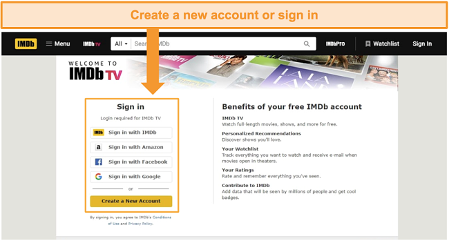 Screenshot of IMDb TV's options to create an account or sign in