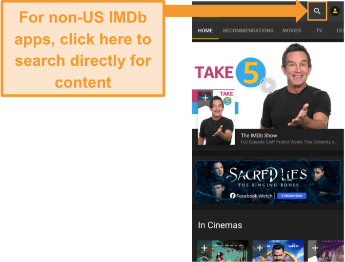 Screenshot of searching for shows or movies on a non-US IMDb app on an Android device