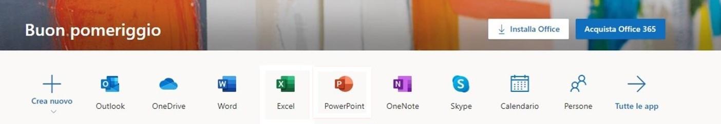 Tutte le app di Office 365