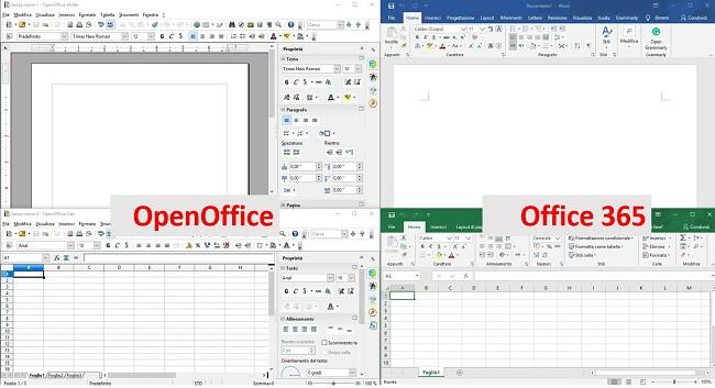 Confronto tra OpenOffice e Office365