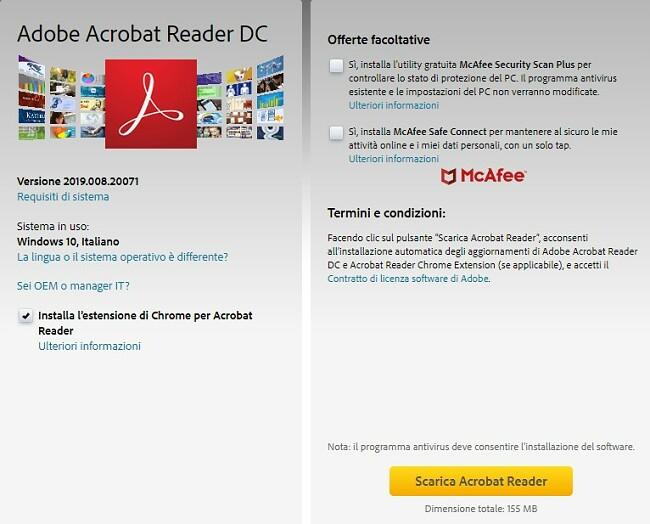 Pagina di download di Adobe Acrobat Reader DC