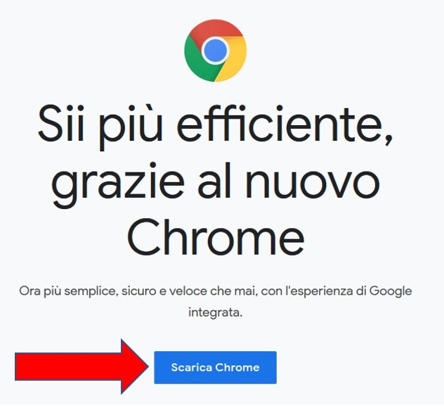 Pagina di download di Google Chrome