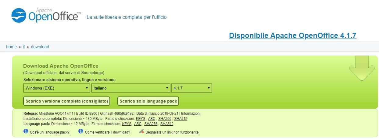 Scarica OpenOffice - Download completo dell'installazione