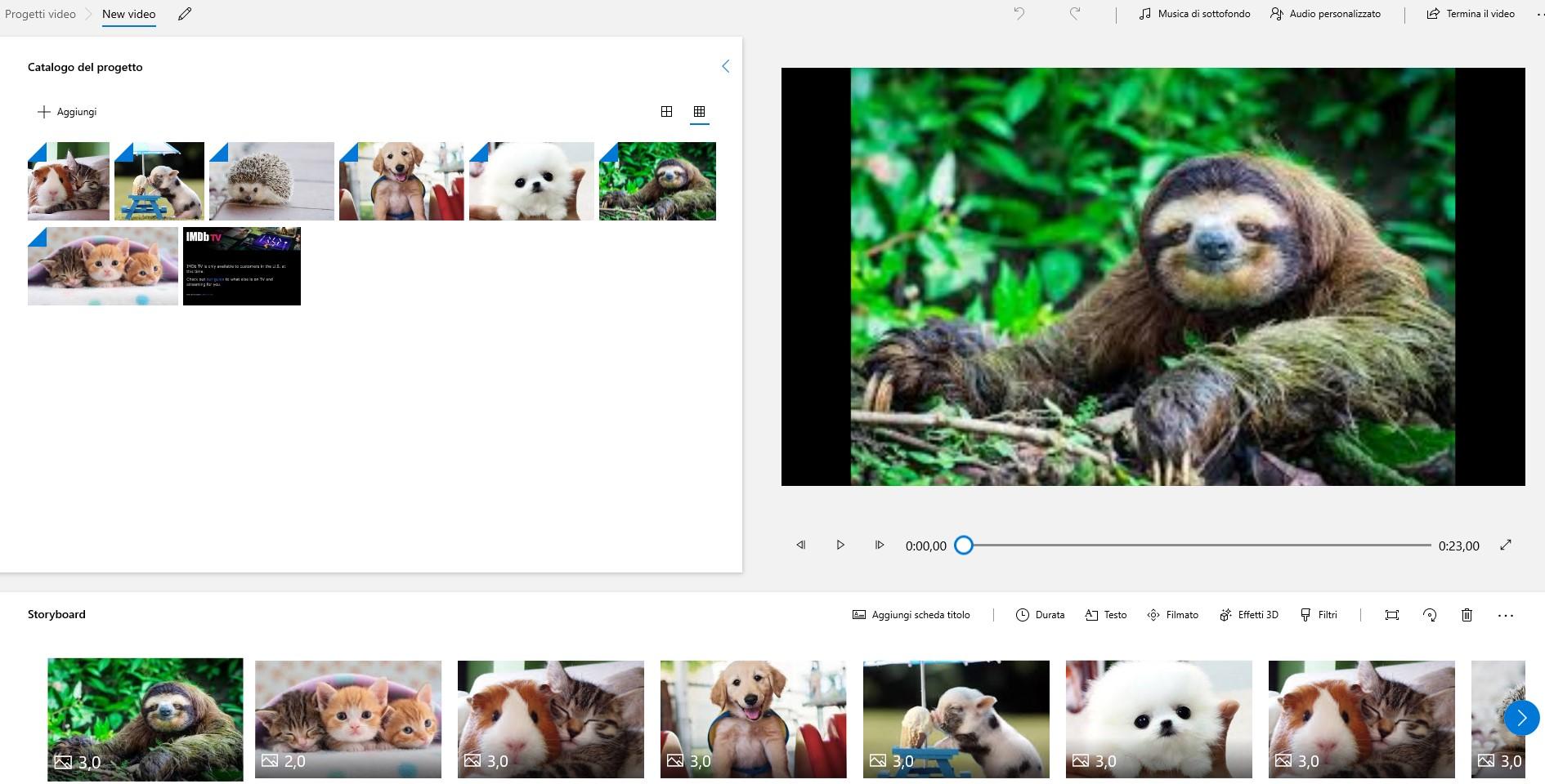 Crea il tuo primo video con Video Editor