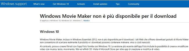 Windows Movie Maker non disponibile per il download