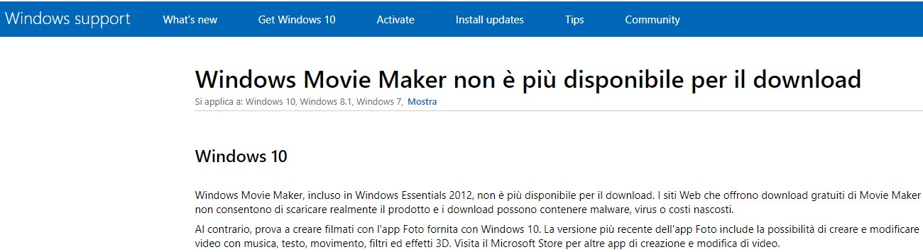 Windows Movie Maker non disponibile per il download