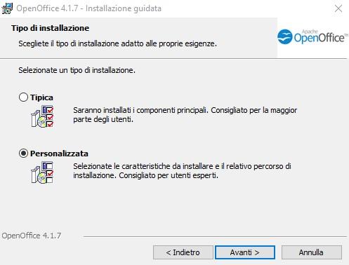 OpenOffice Installazione personalizzata o tipica