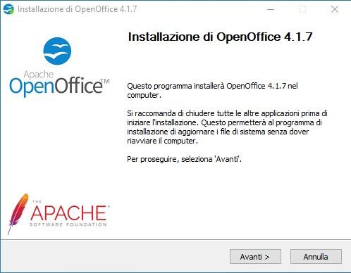 Procedura guidata di installazione di OpenOffice 1