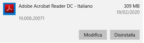 Disinstallare Adobe Acrobat Reader DC