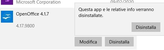 Disinstallare OpenOffice da Windows