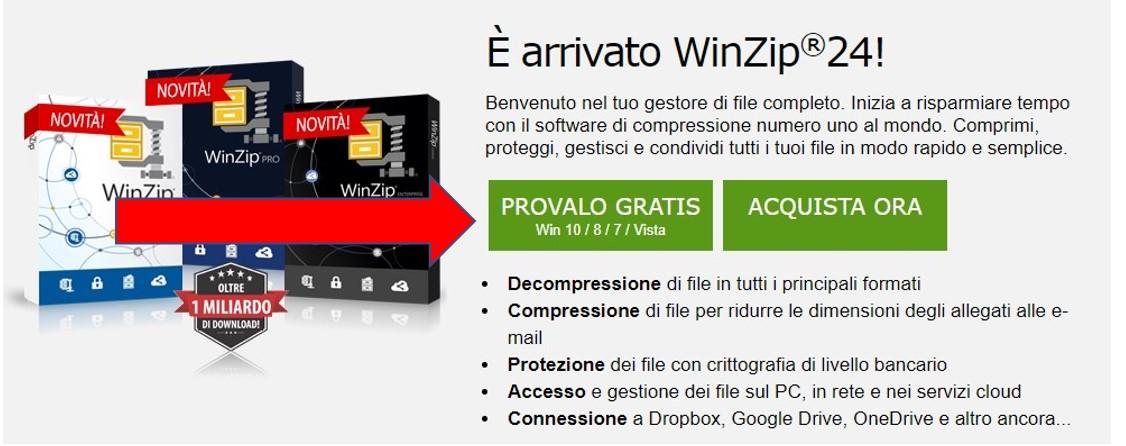 Pagina di download di WinZip