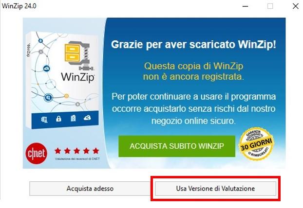 Versione di valutazione di WinZip