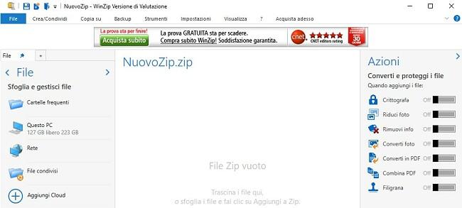 Interfaccia WinZip File