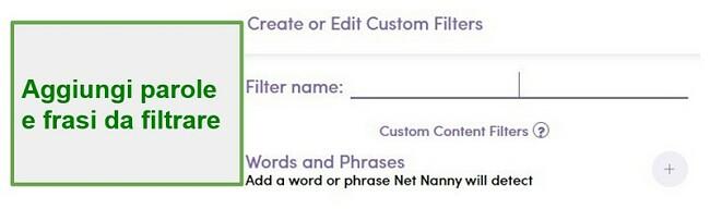 Filtro personalizzato Net Nanny