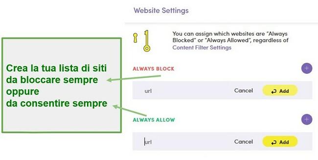 Impostazioni del sito Web di Net Nanny