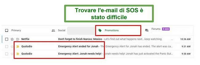 Email di Qustodio SOS