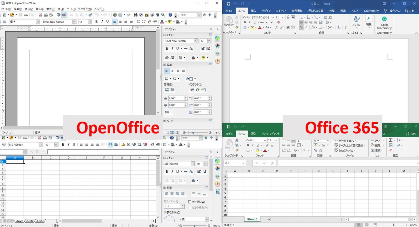 OpenOfficeとOffice365の比較