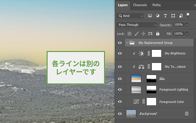 Photoshopでレイヤーを使用する。