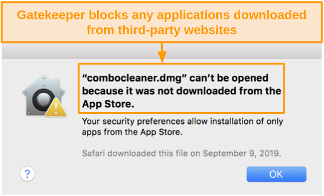 Screenshot of Gatekeeper pop-up message saying a file can't be opened if it wasn't downloaded from the App Store