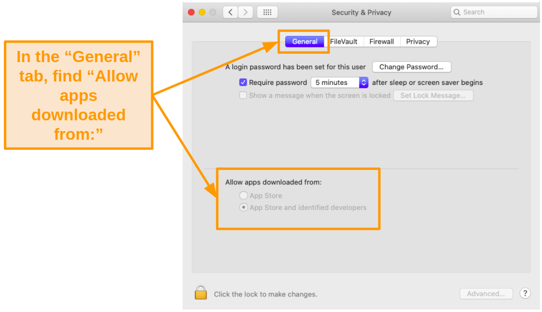 Screenshot of Mac Security and Privacy settings