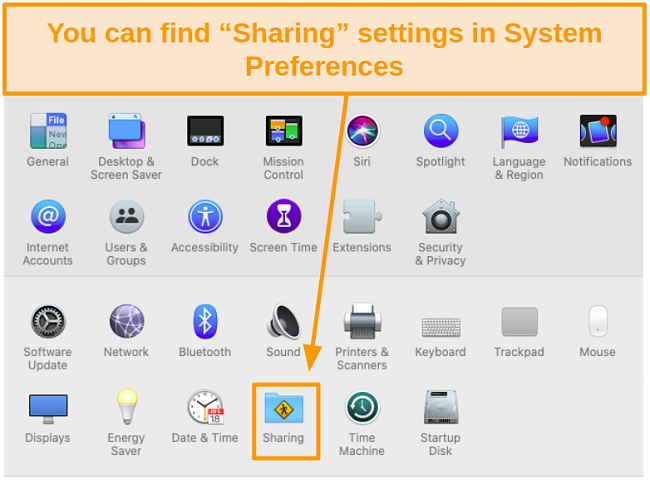 Screenshot of Mac System Preferences highlighting Sharing icon