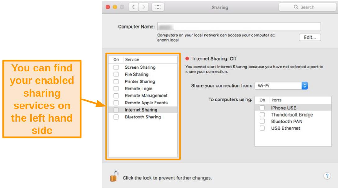 Screenshot of Sharing options on Mac
