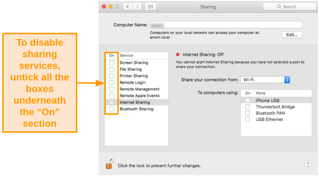 Screenshot of Sharing options highlighting where to enable and disable sharing services