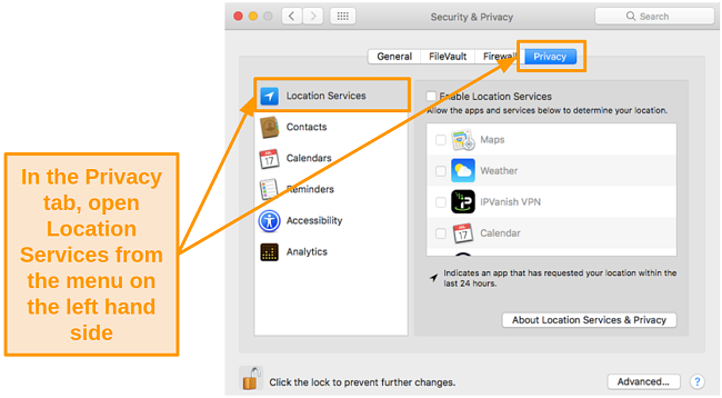 Screenshot of Location Services in Privacy settings