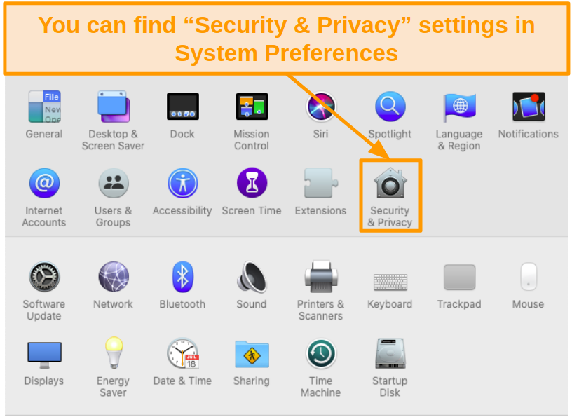 Screenshot of Security and Privacy icon in System Preferences on Mac.