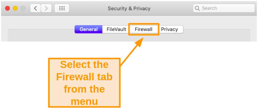 Screenshot of selecting the Firewall tab