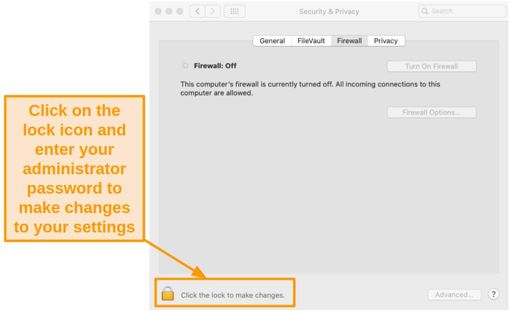 Screenshot of unlocking Firewall settings to make changes.