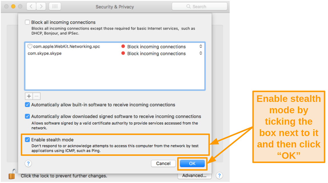 Screenshot of enabling stealth mode in Mac Security and Privacy settings