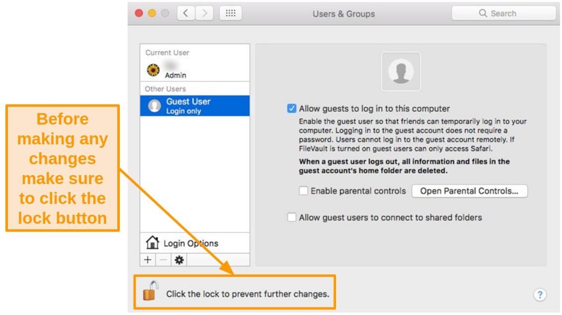 Screenshot of the lock button in Mac settings