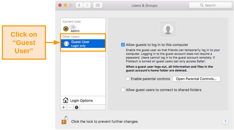Screenshot of Guest User settings