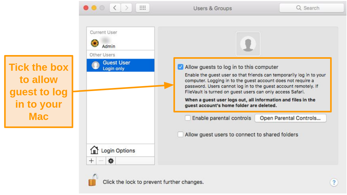 Screenshot of allowing guest users to log in to your Mac