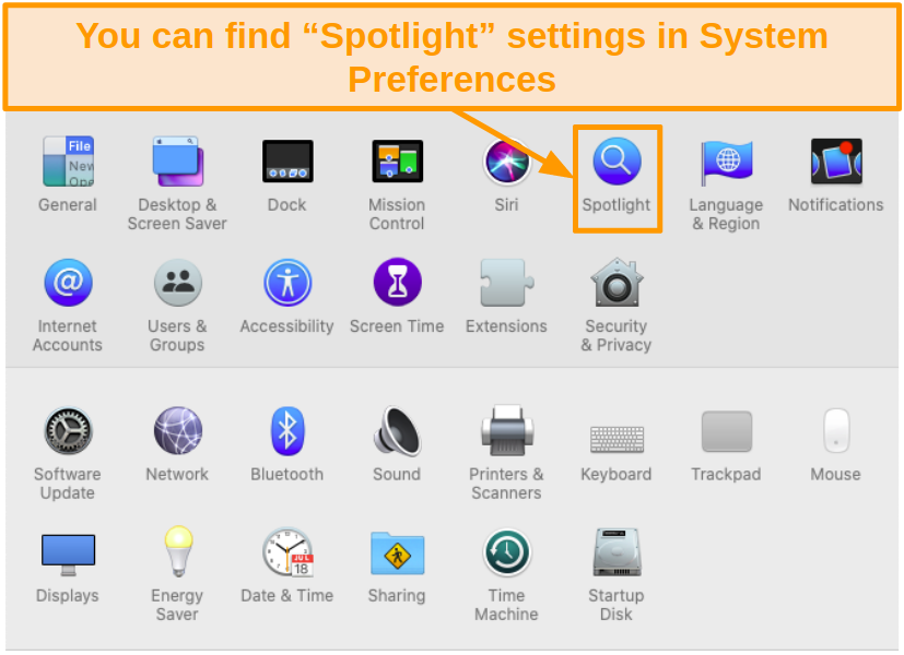 Screenshot of Spotlight icon in System Preferences