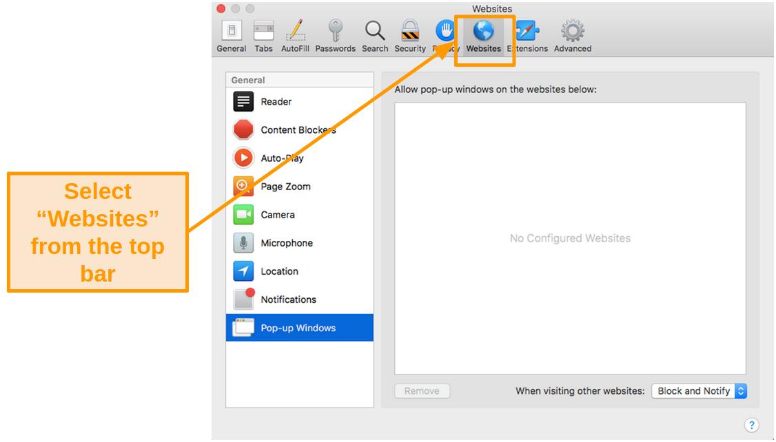 Screenshot of Websites settings on Mac