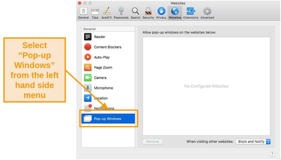 Screenshot of pop-up windows settings in Safari