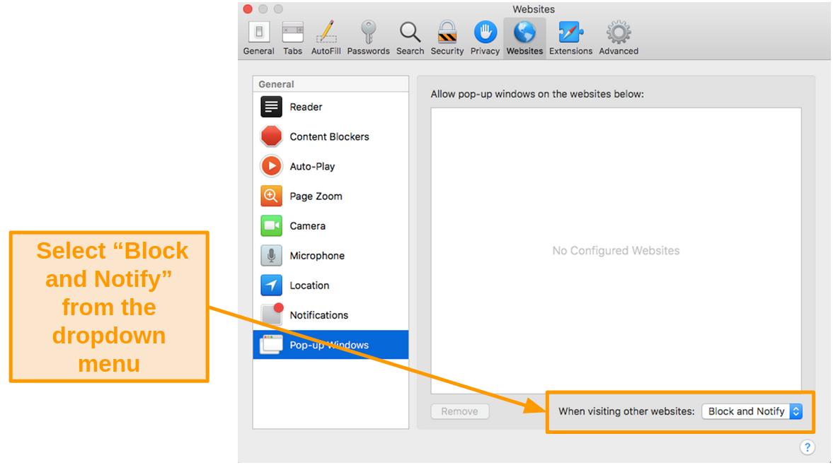 Screenshot of blocking pop-up windows on Safari