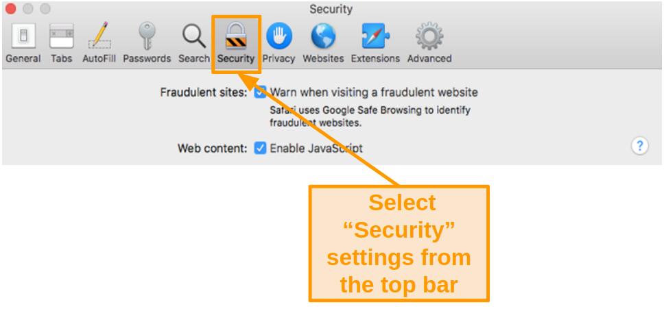 Screenshot of Security settings in Safari