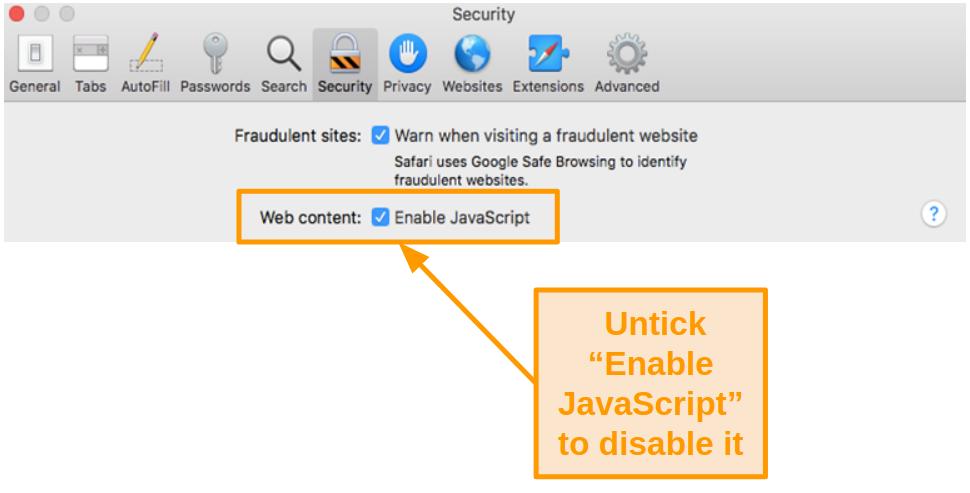 Screenshot of disabling JavaScript in Safari on Mac