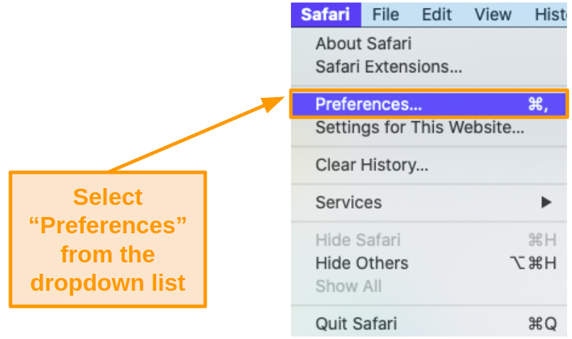 Screenshot of the dropdown list under 'Safari' on the toolbar.