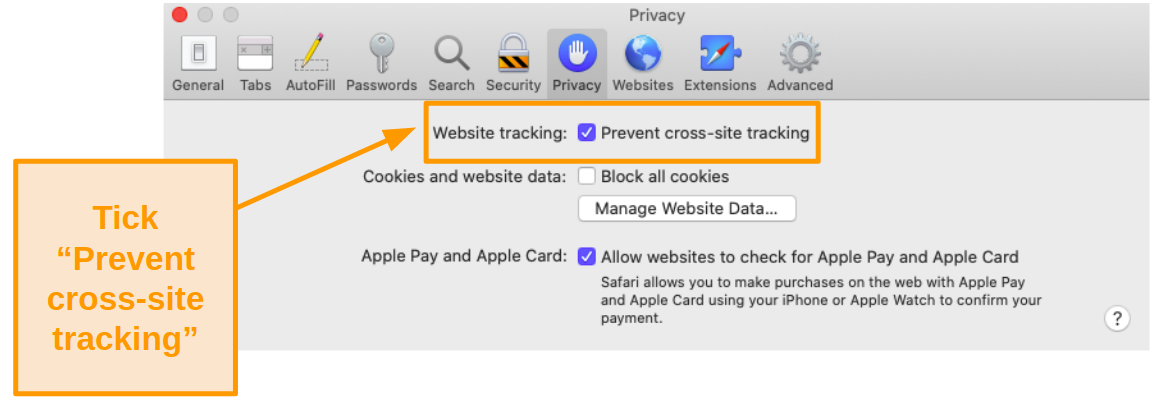 Screenshot of cross-site tracking option on Mac