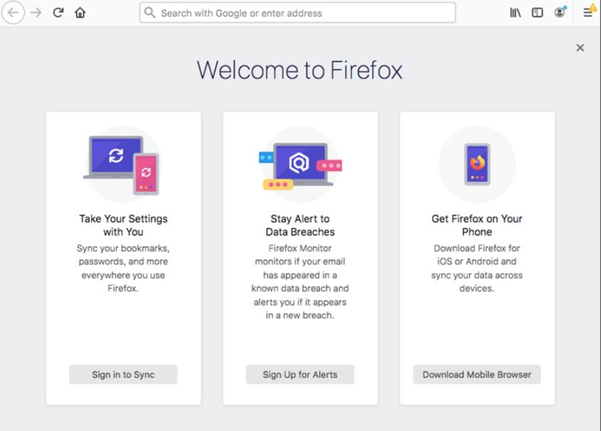 Screenshot of Firefox browser's homepage