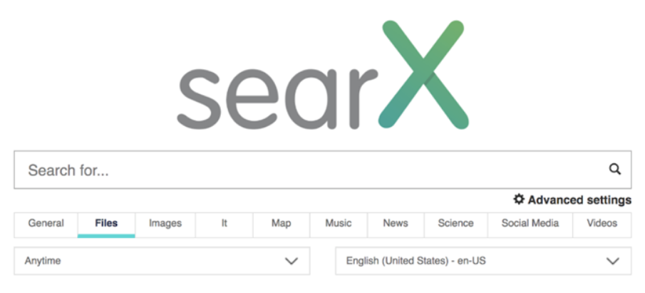 Screenshot of Searx homepage