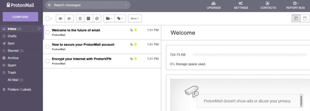 Screenshot of ProtonMail homepage.