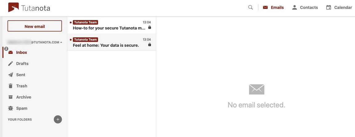 Screenshot of Tutanota homepage.