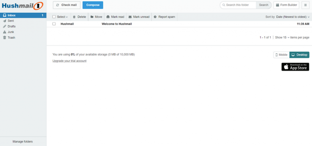 Screenshot of Hushmail homepage